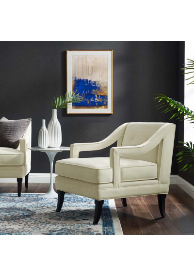 Ivory Cream Velvet Sloping Cut Out Arm Chair