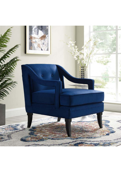 Blue Velvet Sloping Cut Out Arm Chair