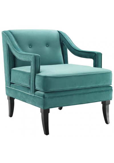 Teal Velvet Sloping Cut Out Arm Chair