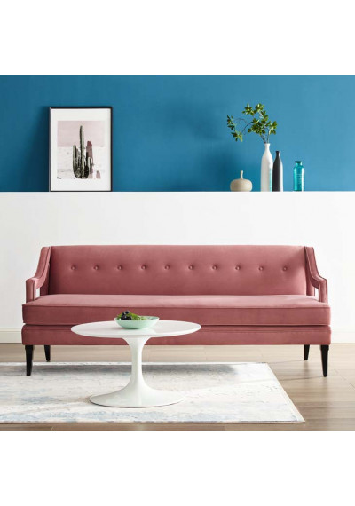 Blush Dusty Rose Velvet Sloping Cut Out Arm Sofa