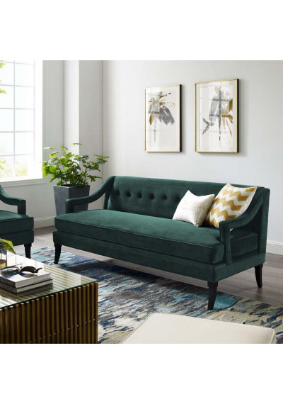 Deep Green Velvet Sloping Cut Out Arm Sofa