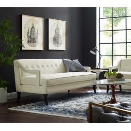 Ivory Cream Velvet Sloping Cut Out Arm Sofa
