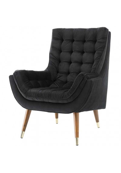 So Comfortable Tufted Black Velvet Lounge Chair