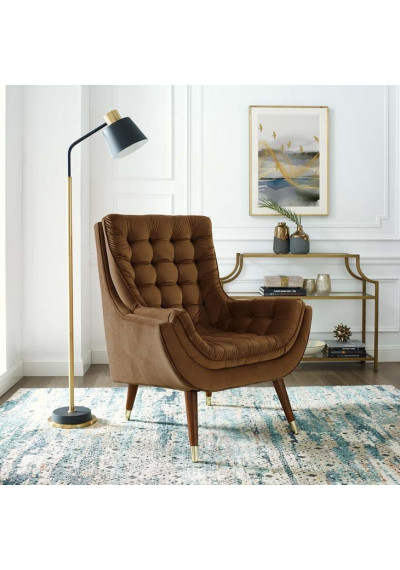 So Comfortable Tufted Brown Velvet Lounge Chair