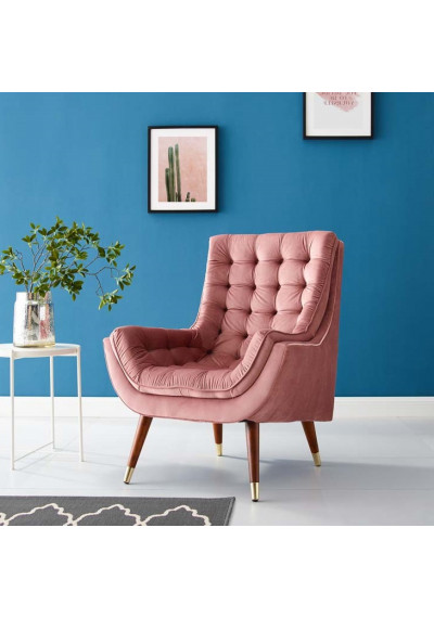 So Comfortable Tufted Dusty Rose Pink Velvet Lounge Chair