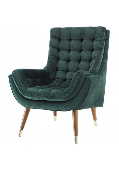 So Comfortable Tufted Deep Green Velvet Lounge Chair