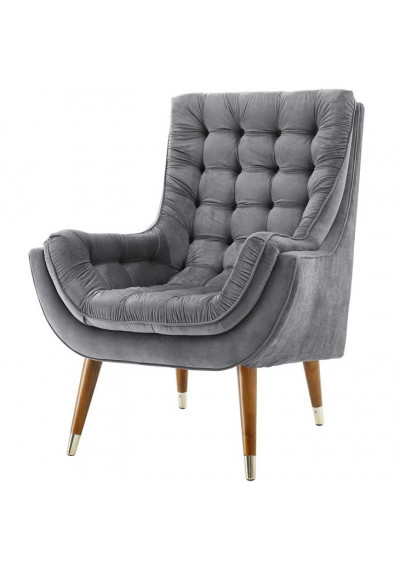 So Comfortable Tufted Grey Velvet Lounge Chair