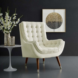 So Comfortable Tufted Ivory Cream Velvet Lounge Chair