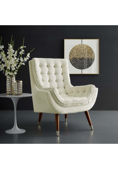 So Comfortable Tufted Ivory Cream Velvet Lounge Chair