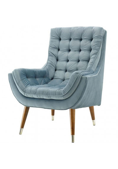 So Comfortable Tufted Soft Blue Velvet Lounge Chair