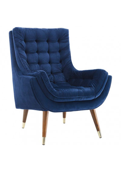 So Comfortable Tufted Blue Velvet Lounge Chair
