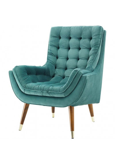 So Comfortable Tufted Velvet Teal Lounge Chair