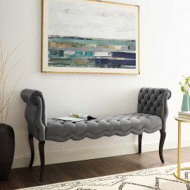 Grey Velvet Chesterfield Style Button Tufted Bench