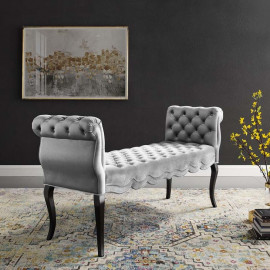 Light Grey Velvet Chesterfield Style Button Tufted Bench