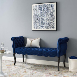 Navy Blue Velvet Chesterfield Style Button Tufted Bench