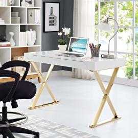 Glam White X Frame Gold Base Desk