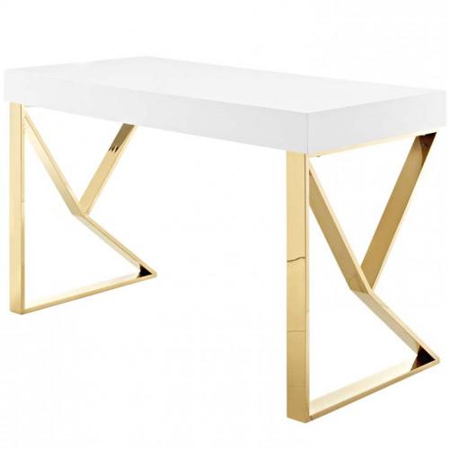 White Lacquer Gold Base Desk