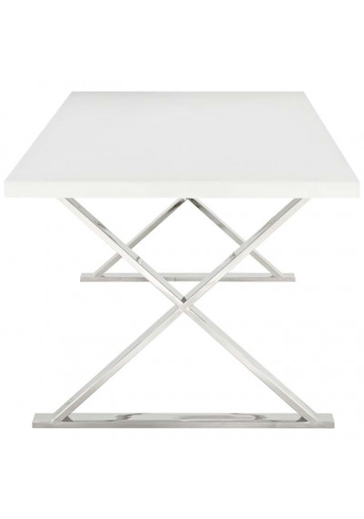 White Top Silver X Frame Base Dining Table