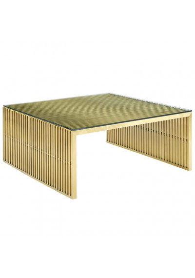 Gold Staple Glass Top Coffee Table
