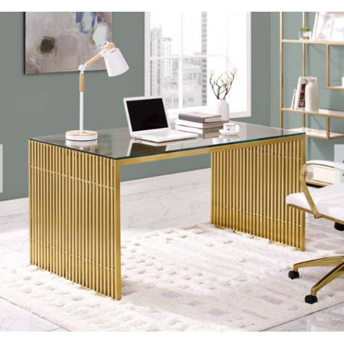 Gold Staple Glass Top Desk Dining Table