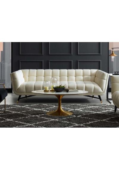 Mid Century Deep Tufted Ivory Velvet Sofa