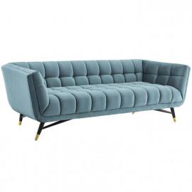 Mid Century Deep Tufted Sea Blue Velvet Sofa