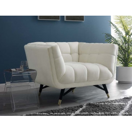 Mid Century Deep Tufted Ivory Velvet Lounge Chair