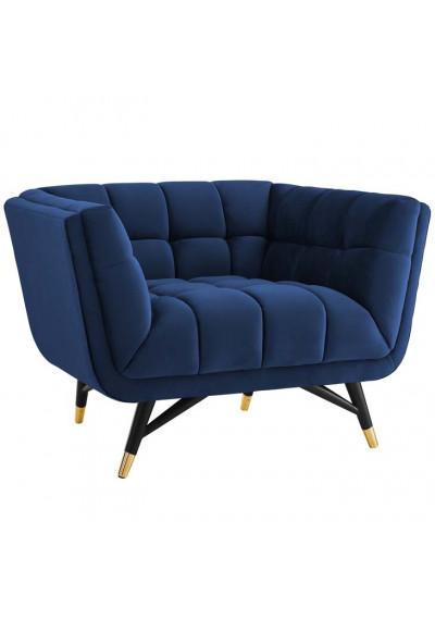 Mid Century Deep Tufted Blue Velvet Lounge Chair