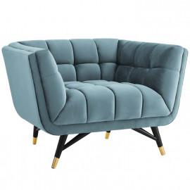 Mid Century Deep Tufted Sea Blue Velvet Lounge Chair