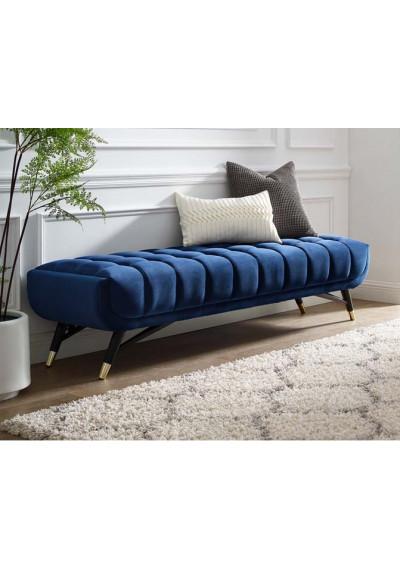 Mid Century Deep Tufted Blue Velvet Extra Long Bench