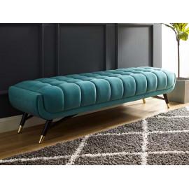 Mid Century Deep Tufted Sea Blue Velvet Extra Long Bench