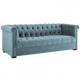 Sea Blue Velvet Tufted Chesterfield Style Sofa