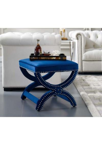 Blue Velvet Curved Legs Nailhead Trim Footstool