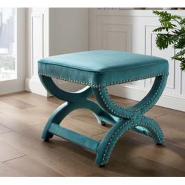 Sea Blue Velvet Curved Legs Nailhead Trim Footstool