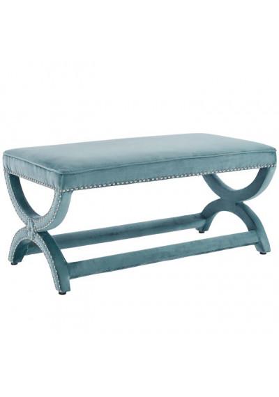 Sea Blue Velvet Curved Legs Nailhead Trim Bench