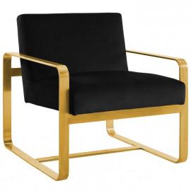 Black Velvet Gold Square Frame Lounge Chair