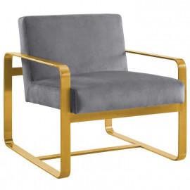Grey Velvet Gold Square Frame Lounge Chair