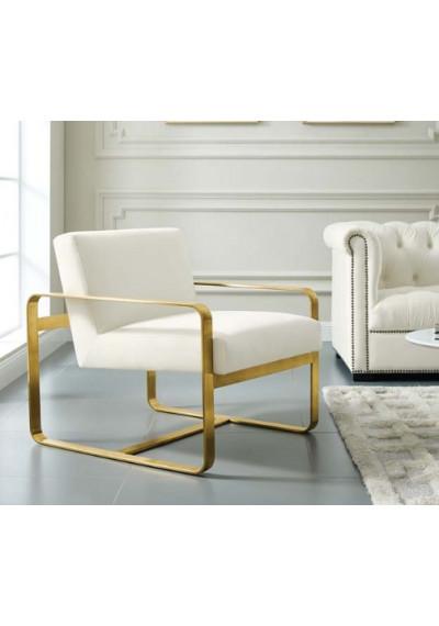 Ivory Velvet Gold Square Frame Lounge Chair