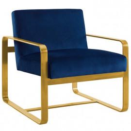 Blue Navy Velvet Gold Square Frame Lounge Chair