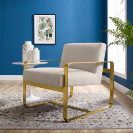 Beige Fabric Gold Square Frame Lounge Chair