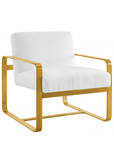 White Fabric Gold Square Frame Lounge Chair