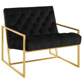 Black Tufted Velvet Square Box Gold Frame Arm Chair