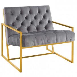 Grey Tufted Velvet Square Box Gold Frame Arm Chair