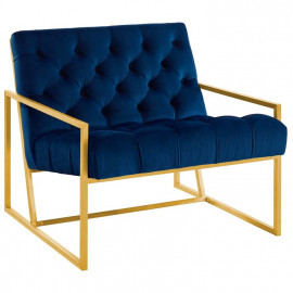 Blue Navy Tufted Velvet Square Box Gold Frame Arm Chair