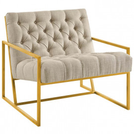Beige Fabric Tufted Square Box Gold Frame Arm Chair