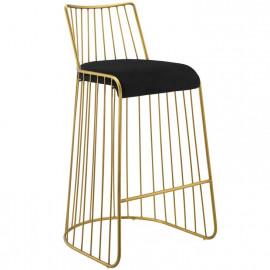 Gold Bars & Black Velvet Seat Bar Stool