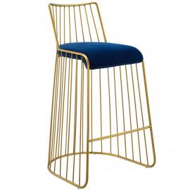Gold Bars & Blue Velvet Seat Bar Stool
