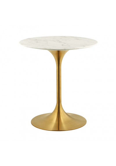 White Marble Top Gold Base Mid Century Round Dining Table