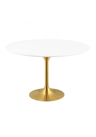 White Top Gold Base Mid Century Round Dining Table