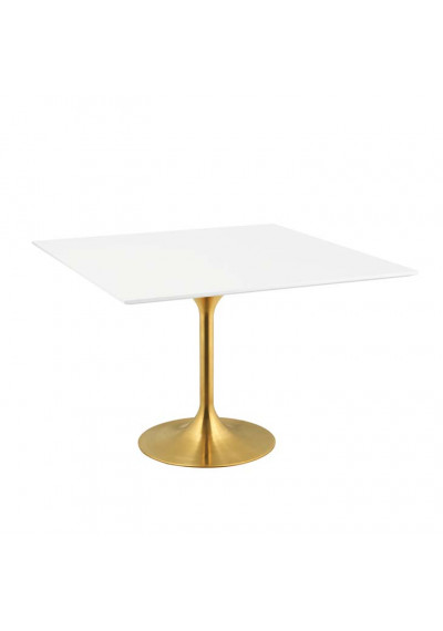 White Top Gold Base Mid Century Square Dining Table